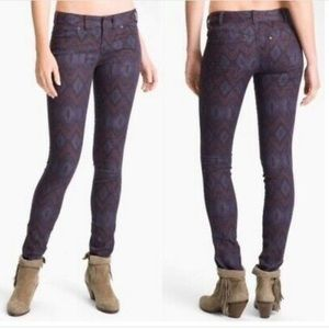 Free People Purple Ikat Aztec Print Skinny Jeans